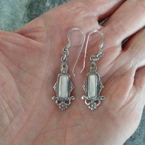 Silver and Mother of Pearl Boho Style Earrings